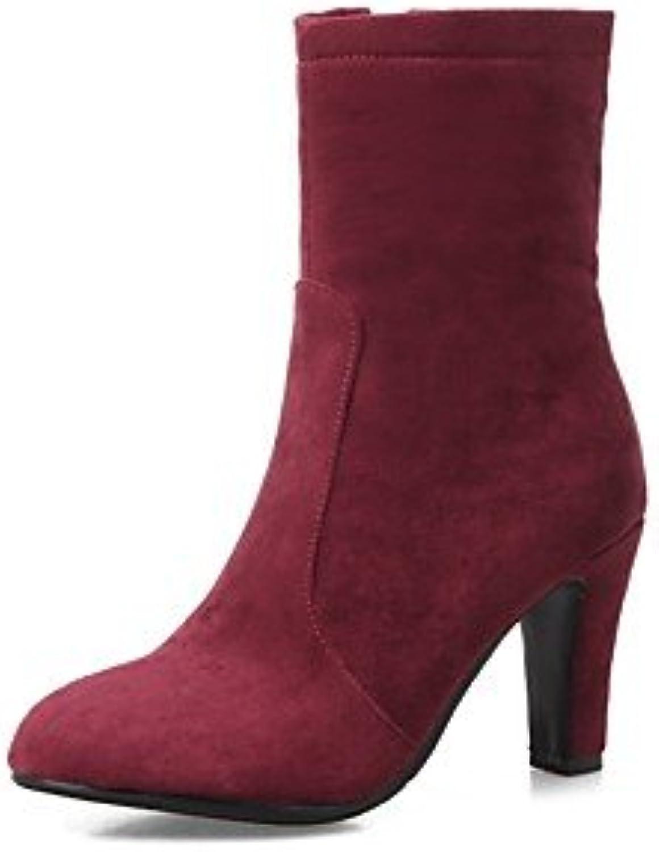 RTRY Zapatos De Mujer Cuero De Nubuck Primavera Otoño Moda Botas Botas Kitten Heel Toe Botas Mid-Calf Redonda...