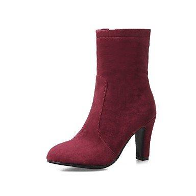 Rtry Femmes Chaussures Nubuck Cuir Printemps Automne Dans Les Bottes De Mode Bottes Talon Chaton Bout Rond Bottes Mid-calf Zipper Pour Noce & Amp; Vin Du Soir Us12 / Eu44 / Uk10 / Cn46
