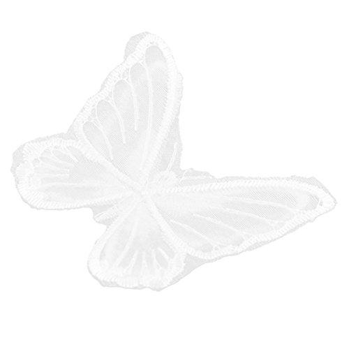 sourcingmap Polyester Schmetterling Flicken Näherei Kleidung Deko Spitze Applizieren weiß