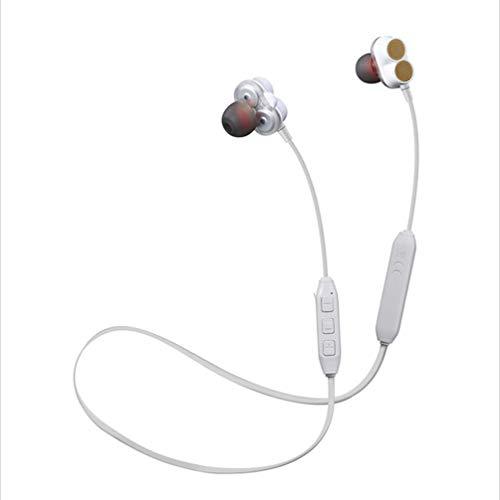 Ching Bluetooth KopfhöRer Leichte Wireless Stereo Magnetic Wasserdichte Sport Mit GeräUschunterdrüCkung Mikrofon FüR Turnhalle Reisen,White