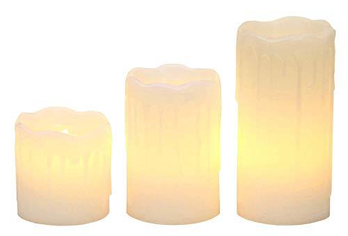 Smart Planet® hochwertige flackernde LED Kerzen Wachs 3er Set in weiß - schöne Wachs Details - Licht warmweiß - 5/7/ 10 x 5 cm - Detail Wachs