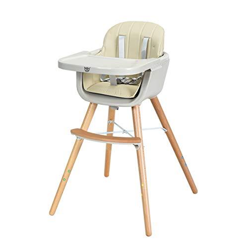 GOPLUS Chaise Haute pour Bébé Evolutive,Chaise haute Multi-Fonctions en Bois+Plastique 2 en 1 51CM/65CM/83CM,Ceinture de Sécurité à 5 Points,Plateau Réglable,Coussin Confortable Blanc/Rose (Blanc)