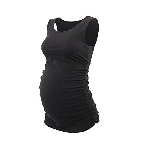 Topwhere® Damen Baumwolle Schwangerschaftsshirt Still-Tank Top (XL, Black) (Jersey-oberteile Essential)
