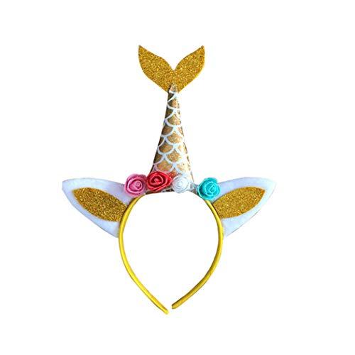 dressfan Einhorn Stirnband Frauen Mädchen Blume Party Geburtstag Stirnband Kopfbedeckung Cosplay Kostüm Gr. Einheitsgröße, S-yellow