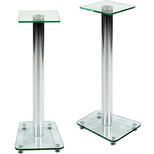 Lautsprecher-ständer (STILISTA 2er Set Lautsprecher Boxen Ständer Varianten: Klarglas und Schwarzglas integrierter Kabelkanal, verchromte Alu Tubes Tragkraft bis 20 kg! klar)