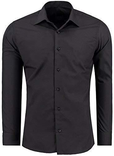 J'S FASHION Herren-Hemd – Slim Fit – Bügelleicht – Langarm-Hemd für Business Freizeit Hochzeit – Schwarz - L