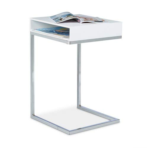 Relaxdays Mesa Auxiliar con Compartimento Lateral, Metal, Blanco, 38x37x61 cm