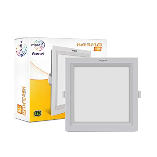 Wipro D721040 Garnet 10-Watt Wave Slim Panel Light (Neutral White, Square)