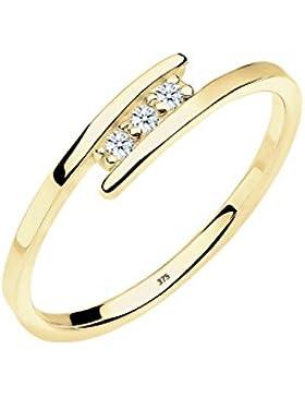 Diamore Damen-Stapelring Diamantring 375 Gelbgold Diamant (0.06 ct) 925 Silber
