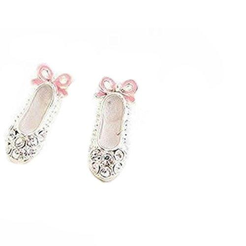 Fashion Lovely Cute Ballet Shoes Bowknot Stud Earrings