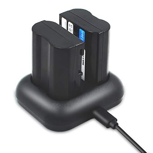 ENEGON Batería de Repuesto (Paquete de 2) y Kit de Cargador rápido para Nikon EN-EL15 y Nikon 1 V1, D7100, D750, D7000, D7200, D810, D610, D800, D600, D800e, D810a