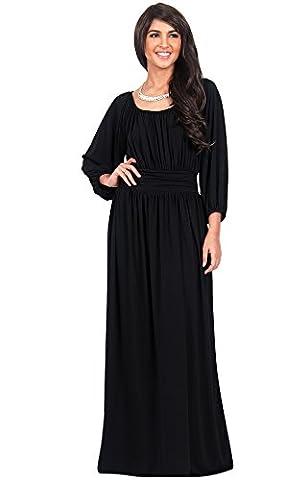 KOH KOH® Damen Petite Langarm Rüschenband Maxikleid Empire Taille Cocktail Abend Kleid , Farbe Schwarz, Größe S / (Mutter Der Braut Formal Wear)
