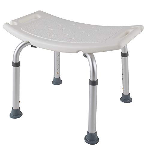 HENGMEI Weiß/Aluminium Höhenverstellbar Badhocker Duschstuhl Duschhilfe Duschsitz Badsitz Duschhocker für die professionelle Pflege