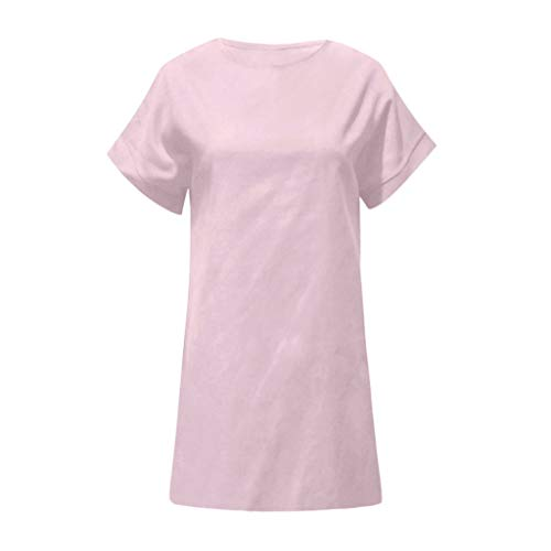kolila Damen Sommer Leinen Kleid lose gerade über dem Knie Kleid lässig einfarbig O Hals Kurzarm Mini Kleider -