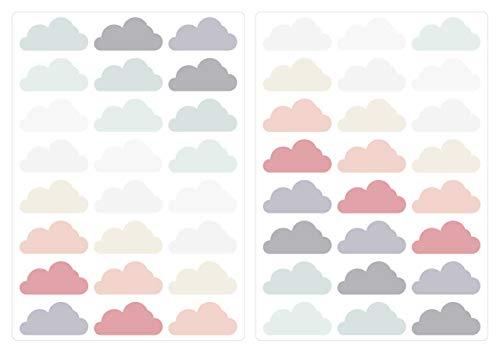 dekodino® Wandtattoo Pastell Wolken in zarten Farben 48 Stück Wandsticker Set -