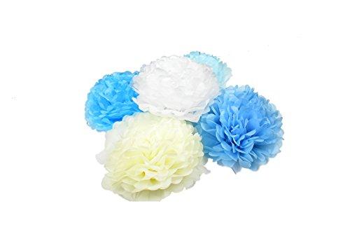 Toppop 25cm Papier Pom Poms Set Seidenpapier Bunte Pompoms Dekoration für Party Hochzeit Deko (Blau Serie)