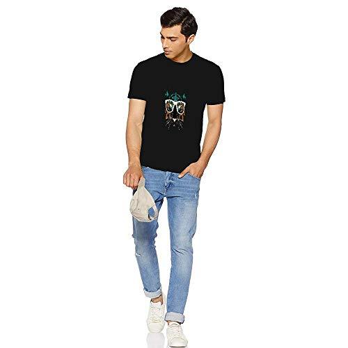 Baumwoll-T-Shirts für Herren,Glasses Tiger Musterdesign gedruckt O-Hals Halbe Ärmel Lockere Passform Baumwolle T-Shirt für Männlich Sanft Clothes Unterstützung für DIY(XXX-Large Black) -