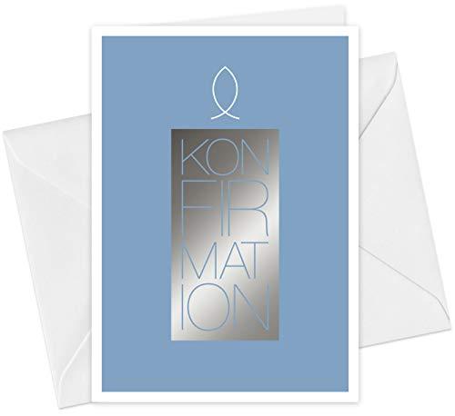 20 Karten & 20 Umschläge: Einladungskarten Konfirmation Motiv Kerze Fisch A6 Klappkarten im Set, Konfirmationskarten Einladung mit Heißfolienprägung (Silber)