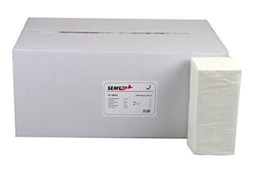 Semy Papierhandtücher, 2 -lagig, ZZ/V-Falz, 24.5 x 22 cm, hochweiss, 4000 Blatt, 1er Pack (1 x 1 Stück)