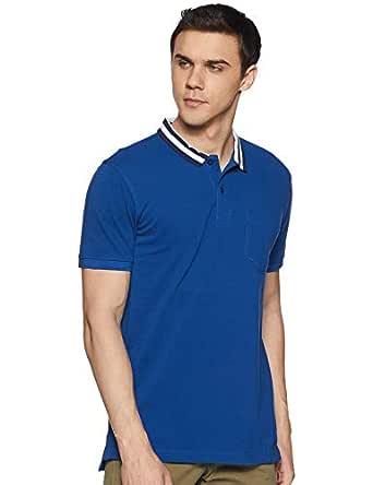 Amazon Brand - Inkast Denim Co. Men's Solid Slim fit Polo (AZ-PO-04C_Blue S)