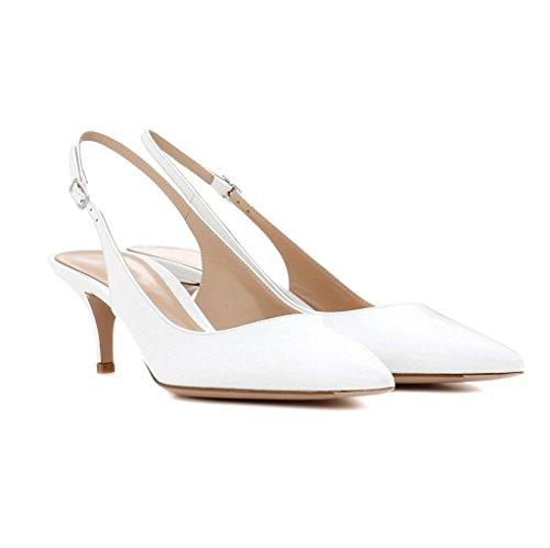 uBeauty Damen Slingback Slip On Pumps Mit Fußgelenk Riemchen Kitten Heel Spitze Zehen Übergröße Pumps Weiß