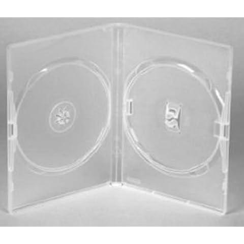 MasterStor (50Unidades) Funda Doble para DVD/CD caja transparente, para 2discos de cualquier Formato