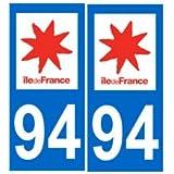 Autocollant plaque immatriculation auto département 94 Val de Marne