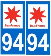 universel Autocollant plaque immatriculation auto département 94 Val de Marne