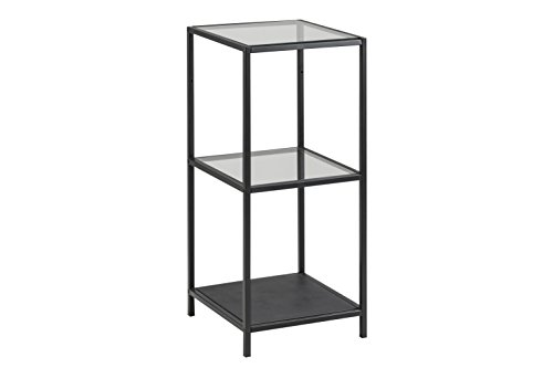 5-regal Bücherregal Glas (AC Design Furniture Regal Jörn, B: 35 x T:37 x H: 82,5 cm, Metall, Schwarz)