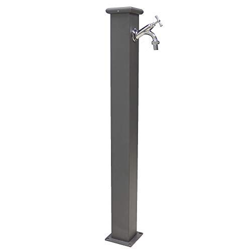 Fonderia bongiovanni fontana a colonna in acciaio con rubinetto per esterno casa giardino modello olimpia colore grigio ghisa completa di rubinetto 303 in ottone cromato