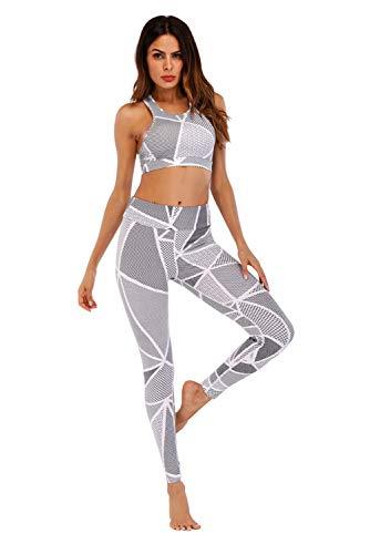 Conjunto Ropa Deportiva Mujer Bohemio Chic 2PC Conjuntos de Sujetador Crop Top y Pantalon Leggings Yoga Set Chandal Estampada Flores Verano Monos Jumpsuit Sportwear para Gym Running Pilates Fitness