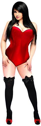 Strampler mit seitlichem Reißverschluss und Korsett, Gänseblümchen - Rot - 4X Plus ()
