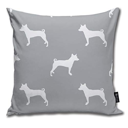 Basenji Silhouette Dog Grey Comfortable Soft Bed Pillow Case Household Pillow Case Office Bolster 18x18 Inches (Hug Sex Pillow)