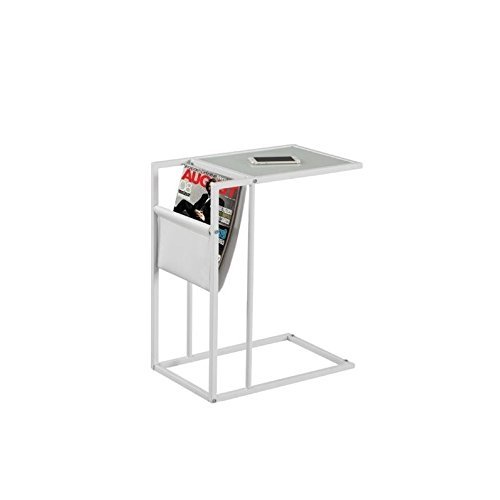 Monarch I 3067 Metal Accent Table with a Magazine Rack, White by Monarch