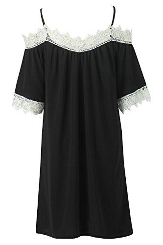 Ladies Crochet Trim Cold Schulter Swing Kleid EUR Größe 36-42 Schwarz