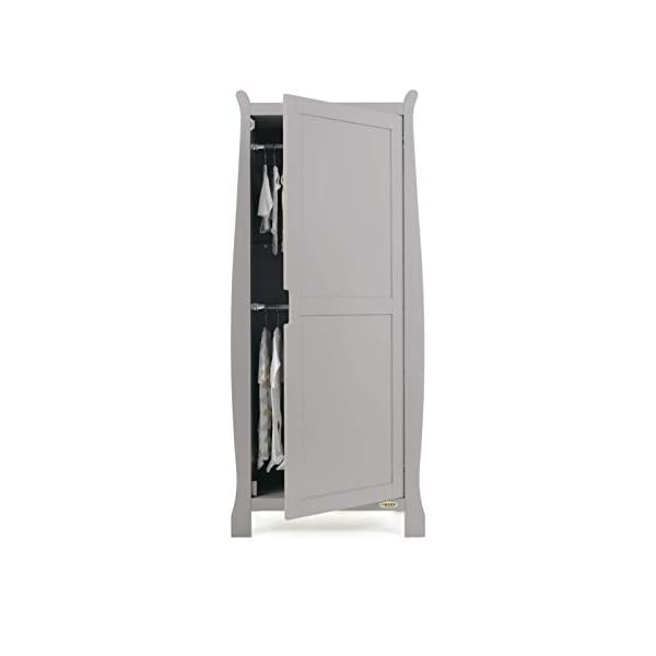 Obaby Stamford Sleigh Single Wardrobe - Taupe Grey Obaby One full height cupboard door Soft closing door 2 hanging rails ensure little ones clothes are kept neat and tidy 4
