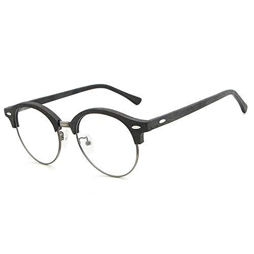 Retro Art Holzmaserung Brillengestell Plain kann durch Myopie Objektiv Gläser ersetzt Werden Brille (Color : 03Schwarz, Size : Kostenlos)