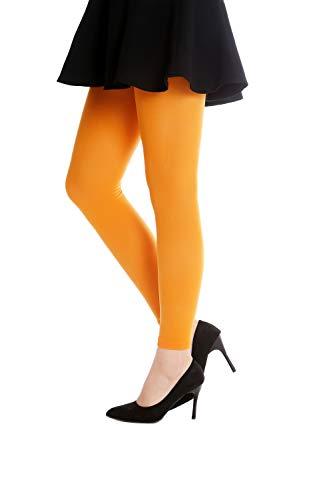 DRESS ME UP - WZ-014O- Arancione Calzamaglia Leggings Collant Costume donna Party Halloween Carnevale Arancione opaco S/M