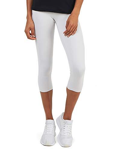 TCA Damen Supreme 3/4 Capri Leggings/Laufhose mit Reißverschlusstasche - Weiß, S Capri Running Legging