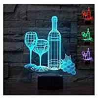 New 3D Wine Cup Bottle Night Light Illusion Lamp 7 Color Change LED Touch USB Table Gift Kids Toys Decor Decorations Christmas Valentines Gift