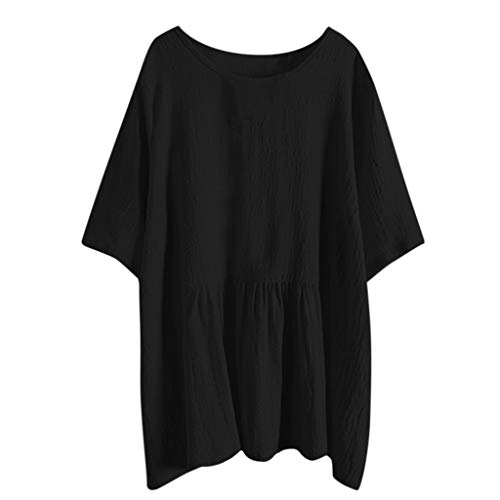 Kviklo Damen Plus Size Hemd Tunika Leinen Solide Batwing Kurzarm Long Bluse Tops(M(38),Schwarz) (And Parks Recreation-halloween-party)