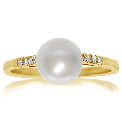f294de9d8193 Anillo Mujer Compromiso Oro y Diamantes - Oro Amarillo 9 Quilates 375  Diamantes 0.06 Quilates Perla
