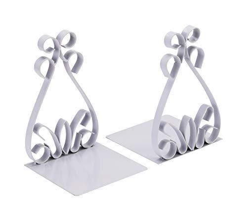NEUN WELTEN Flacheisen Buchstützen mit klassischem Muster 14 x 14 x 18cm (Weiß) -