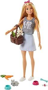 Barbie - ¡Vamos de picnic! Muñeca con animales y accesorios, juguetes 3 años (Mattel FPR48)