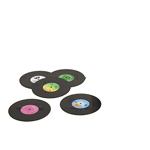 Nikgic 6pcs/set Vinyle rond Record Coaster Vintage CD antidérapant isolation sous-verres 10.5*0.2CM