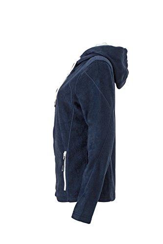 James & Nicholson Veste à capuche en polaire Bleu marine/blanc