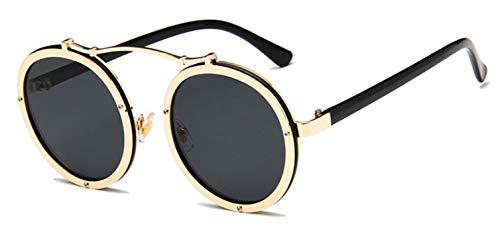 Daawqee Popular Women Round Sunglasses Designer Vintage Men Matte Frame Sun Glasses UV400 Golden Black