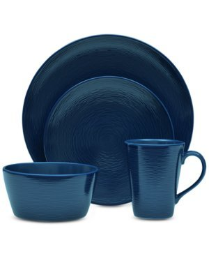 Noritake Marineblau, Wirbel, 4 Stück Tischset Coupe Noritake Coupe