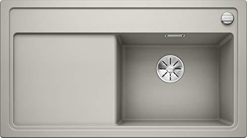 Blanco Zenar 5 S, Küchenspüle aus Silgranit PuraDur, Becken rechts, Alu metallic / mit InFino-Ablaufsystem, inklusiv Glas-Schneidbrett und Ablauffernbedienung; 523881