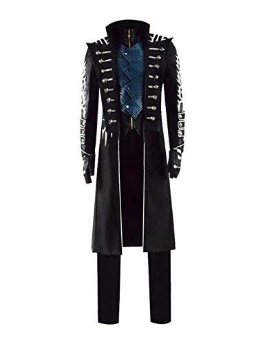 Yewei Spiel Cry 5 Vergil Kostüm Herren Halloween Cosplay Kunstleder Mantel Hose Weste Outfit (Schwarz, L) (2019 Frankreich Halloween)